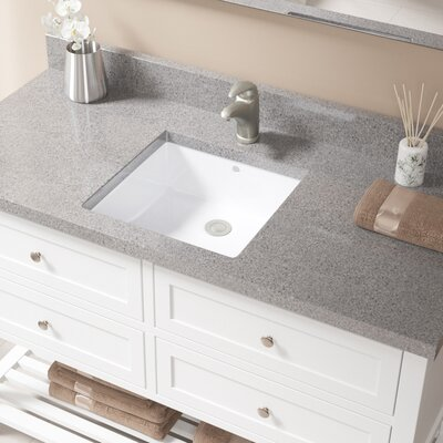 Vitreous China Square Undermount Bathroom Sink with Overflow Sink Finish: White, Drain Finish: Brushed Nickel