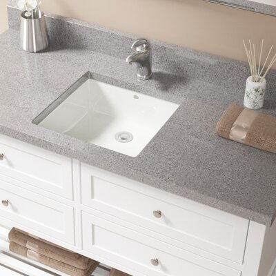 Vitreous China Square Undermount Bathroom Sink with Overflow Sink Finish: Bisque, Drain Finish: Chrome