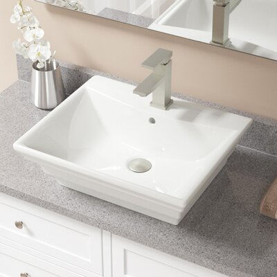 Vitreous China Rectangular Vessel Bathroom Sink with Faucet and Overflow Sink Finish: Bisque, Faucet Finish: Brushed Nickel