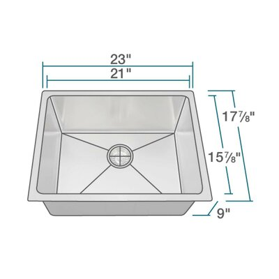 Stainless Steel 23 x 18 Undermount Kitchen Sink with Cutting Board, Grid and Basket Strainer