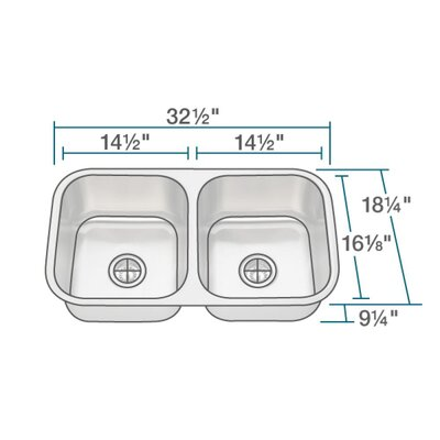 Stainless Steel 33 x 18 Double Basin Undermount Kitchen Sink