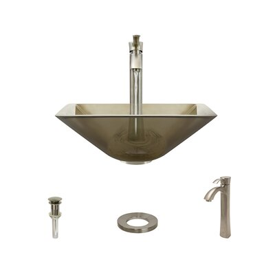 Glass Square Vessel Bathroom Sink with Faucet Sink Finish: Taupe, Faucet Finish: Brushed Nickel