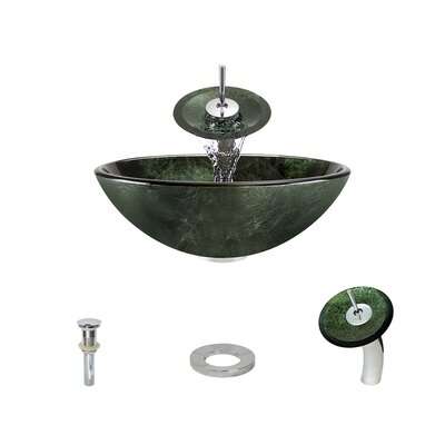 Forest Glass Circular Vessel Bathroom Sink with Faucet Faucet Finish: Chrome