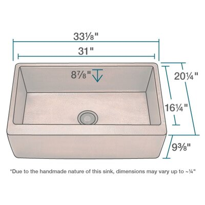 35 x 20 Farmhouse/Apron Kitchen Sink with Drain Assembly
