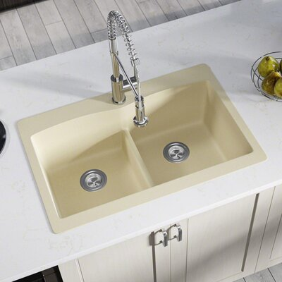 Granite Composite 33 x 22 Double Basin Drop-In Kitchen Sink with Basket Strainers Finish: Beige