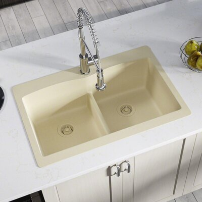 Granite Composite 33 x 22 Double Basin Drop-in Kitchen Sink with Strainer and Flange Finish: Beige