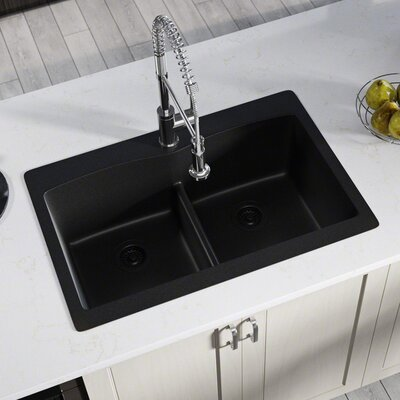 Granite Composite 33 x 22 Double Basin Drop-in Kitchen Sink with Strainer and Flange Finish: Black