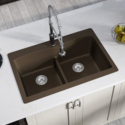 Granite Composite 33 x 22 Double Basin Drop-in Kitchen Sink Finish: Mocha