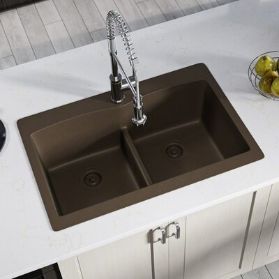 Granite Composite 33 x 22 Double Basin Drop-In Kitchen Sink with Strainers Finish: Mocha