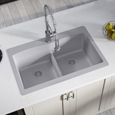 Granite Composite 33 x 22 Double Basin Drop-In Kitchen Sink with Strainers Finish: Silver