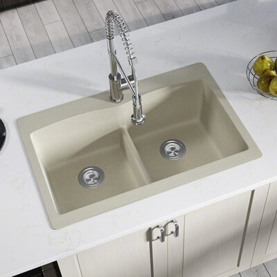 Granite Composite 33 x 22 Double Basin Drop-In Kitchen Sink with Basket Strainers Finish: Slate