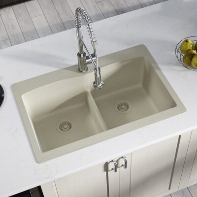 Granite Composite 33 x 22 Double Basin Drop-in Kitchen Sink with Strainer and Flange Finish: Slate