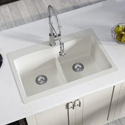 Granite Composite 33 x 22 Double Basin Drop-In Kitchen Sink with Basket Strainers Finish: White