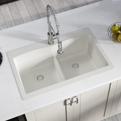 Granite Composite 33 x 22 Double Basin Drop-in Kitchen Sink with Strainer and Flange Finish: White