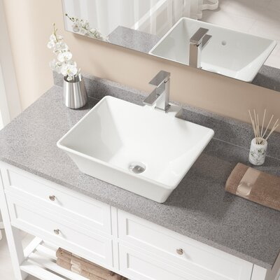Rectangualr Vitreous China Rectangular Vessel Bathroom Sink with Faucet and Overflow Sink Finish: Bisque, Faucet Finish: Chrome
