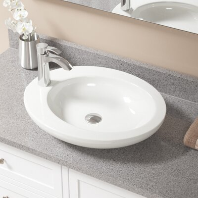 Vitreous China Oval Vessel Bathroom Sink with Faucet Sink Finish: Bisque, Faucet Finish: Chrome