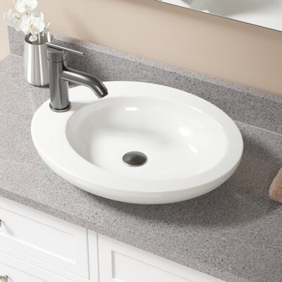 Vitreous China Oval Vessel Bathroom Sink with Faucet Sink Finish: Bisque, Faucet Finish: Antique Rubbed Bronze