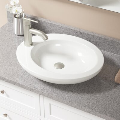 Vitreous China Oval Vessel Bathroom Sink with Faucet Sink Finish: Bisque, Faucet Finish: Brushed Nickel