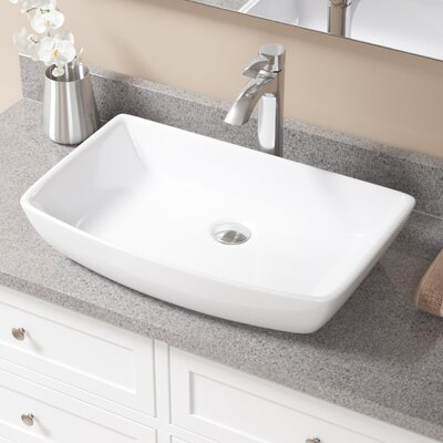 Vitreous China Rectangular Vessel Bathroom Sink with Faucet Sink Finish: White, Faucet Finish: Chrome