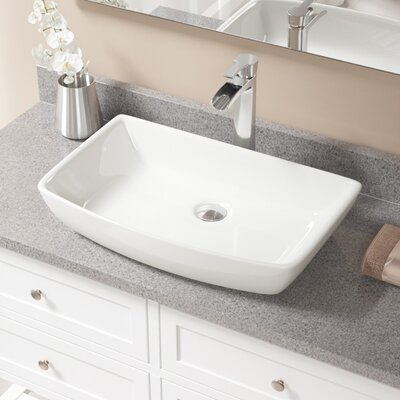 Vitreous China Rectangular Vessel Bathroom Sink with Faucet Sink Finish: Bisque, Faucet Finish: Chrome