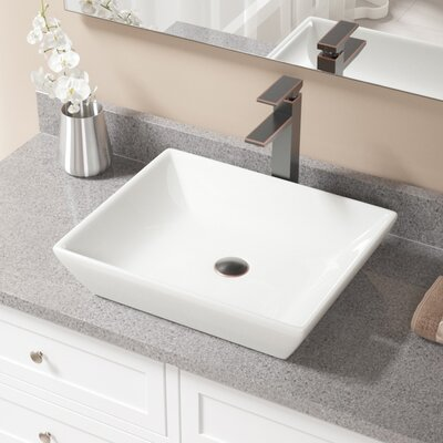 Rectangualr Vitreous China Rectangular Vessel Bathroom Sink with Faucet Sink Finish: Bisque, Faucet Finish: Antique Rubbed Bronze