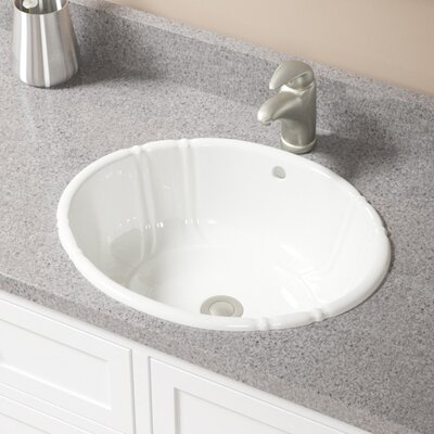 Vitreous China Oval Drop-In Bathroom Sink with Overflow Sink Finish: Bisque, Drain Finish: Brushed Nickel