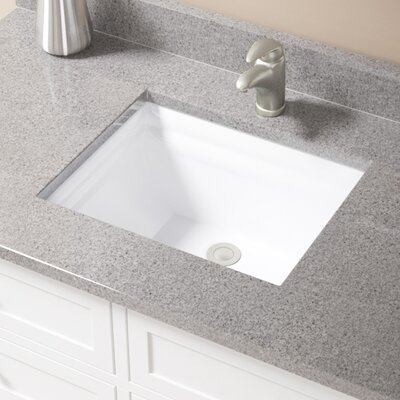 Vitreous China Rectangular Vessel Bathroom Sink with Overflow Sink Finish: White, Drain Finish: Brushed Nickel