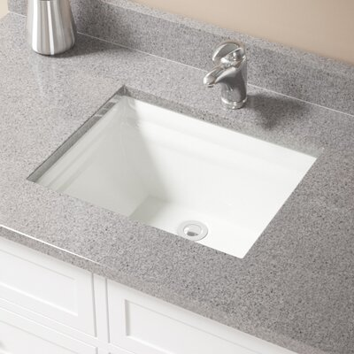 Vitreous China Rectangular Vessel Bathroom Sink with Overflow Sink Finish: Bisque, Drain Finish: Chrome