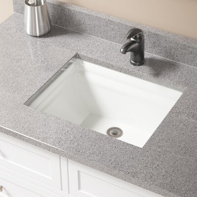 Vitreous China Rectangular Vessel Bathroom Sink with Overflow Sink Finish: Bisque, Drain Finish: Antique Rubbed Bronze