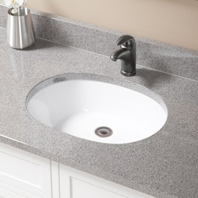 Vitreous China Oval Undermount Bathroom Sink with Overflow Sink Finish: White, Drain Finish: Antique Rubbed Bronze