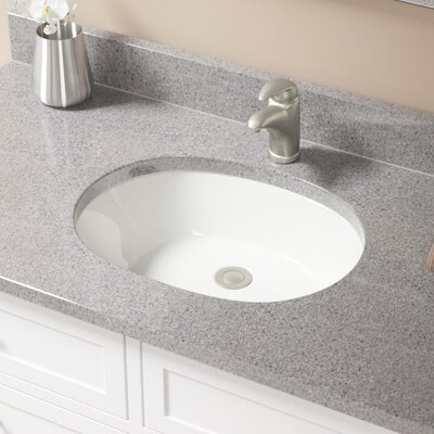 Vitreous China Oval Undermount Bathroom Sink with Overflow Sink Finish: Bisque, Drain Finish: Brushed Nickel