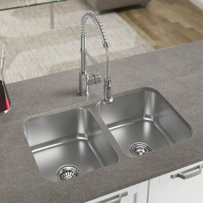 32 x 19 Double Basin Undermount Kitchen Sink with Basket Strainer