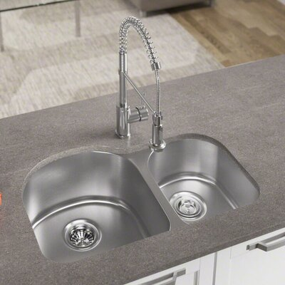 31 x 20 Double Basin Undermount Kitchen Sink with Basket Strainer
