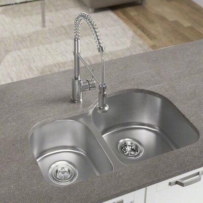 31 x 20 Double Basin Undermount Kitchen Sink with Basket Strainer