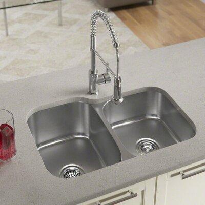 31 x 21 Double Basin Undermount Kitchen Sink with Basket Strainer