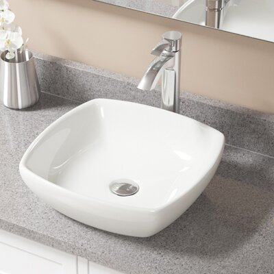 Vitreous China Specialty Vessel Bathroom Sink with Faucet Sink Finish: Bisque, Faucet Finish: Chrome