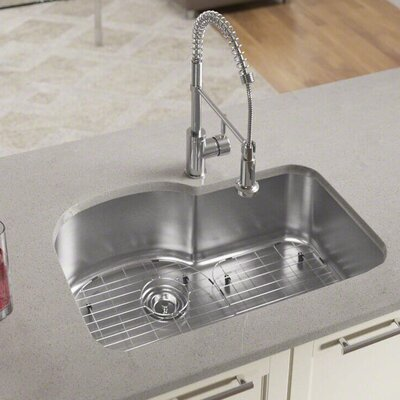 "Stainless Steel 31"" L x 21"" W Undermount Kitchen Sink With Additional Accessories 346-18-ENS"