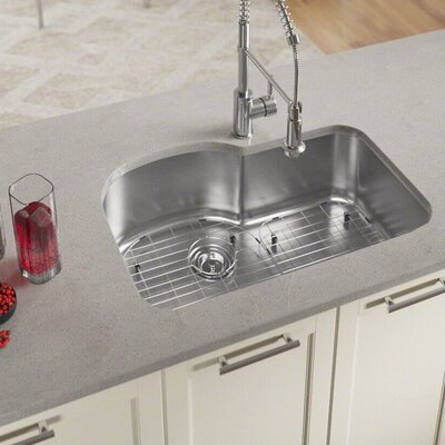 "Stainless Steel 31"" L x 21"" W Undermount Kitchen Sink With Additional Accessories 346-16-ENS"