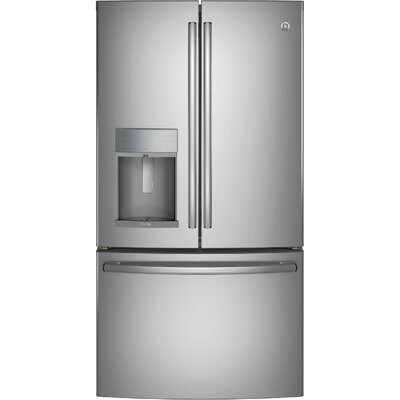 GE - Profile Series 22.2 Cu. Ft. French Door Counter-Depth Refrigerator - Stainless steel PYE22KSKSS