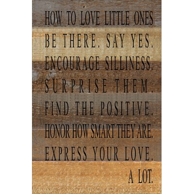 'How to Love Little Ones' Textual Art HRBE1487 44377666
