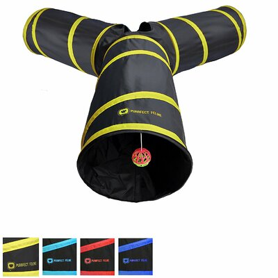 Collapsible Cat Tunnel Size: Medium, Color: Yellow