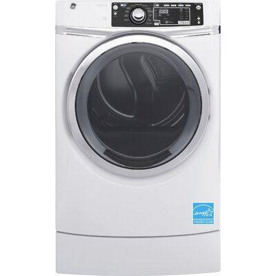 GE - RightHeight 8.3 Cu. Ft. 13-Cycle Gas Dryer with Steam - White GFD49GRSKWW