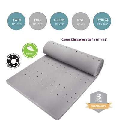 2 Memory Foam Mattress Topper Bed Size: Queen