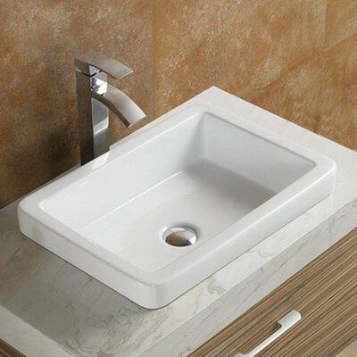 Ceramic Rectangular Drop-In Bathroom Sink