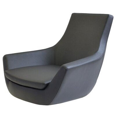 Creason Swivel Leather Lounge Chair Seat Color: Black