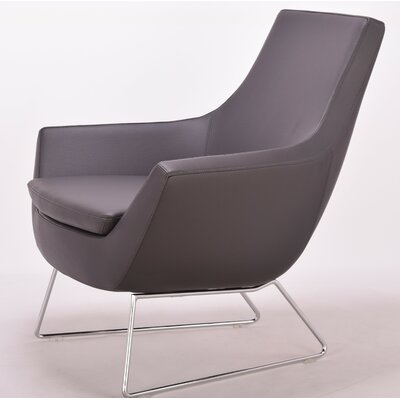 Creager Leather Lounge Chair Seat Color: Dark Gray