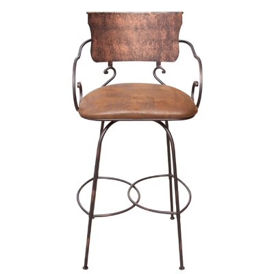 No credit check financing Hand Forged Swivel Bar Stool with A...