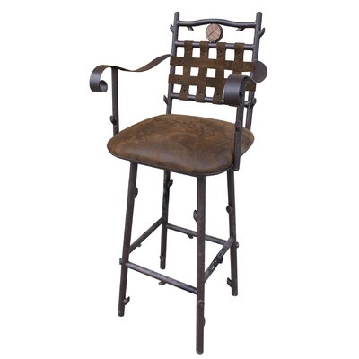No credit check financing Swivel Bar Stool with Pig Skin Back...