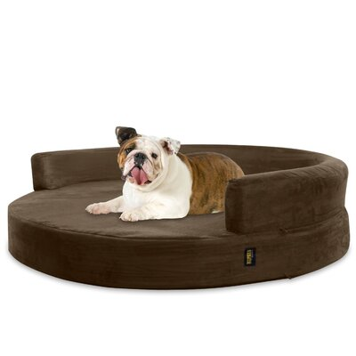 Byron Deluxe Orthopedic Memory Foam Round Lounge Dog Sofa Size: Large (36 W x 36 D x 5 H), Color: Brown