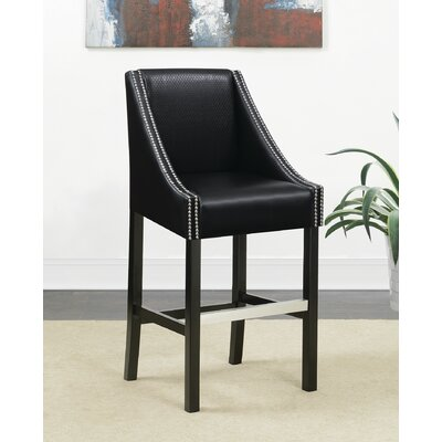 Labbe Bar Stool Upholstery: Black